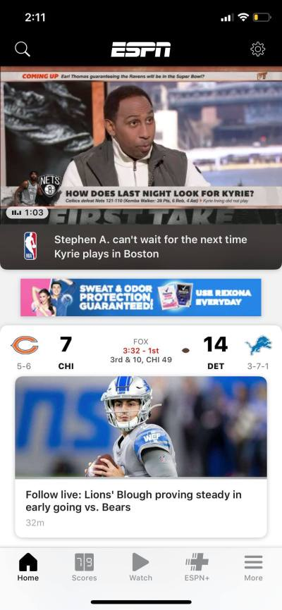 Home on iOS by ESPN from UIGarage