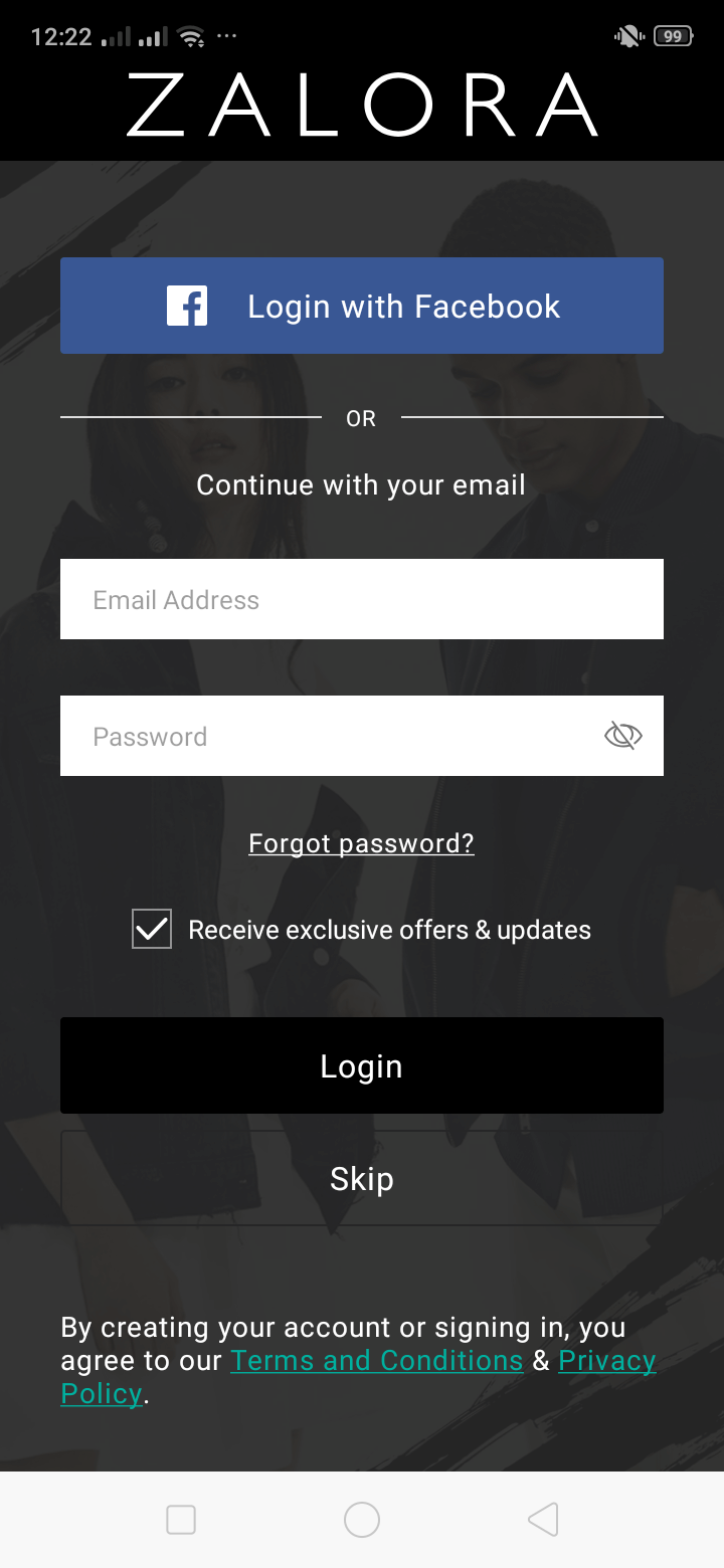Login on Android by Zalora from UIGarage