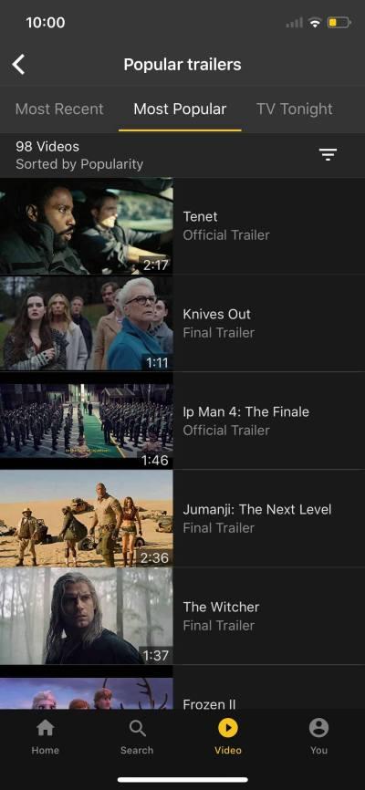 Popular Trailers on iOS by IMDb from UIGarage