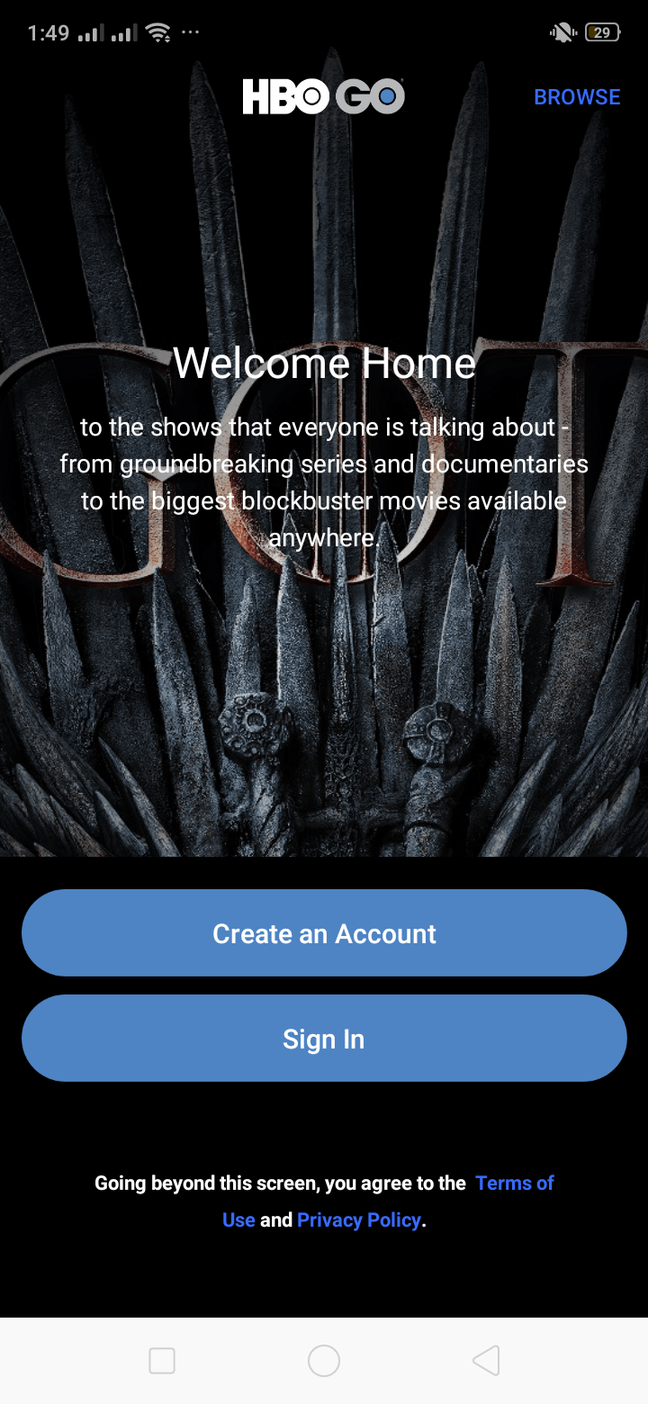 Welcome on Android by HBO GO from UIGarage