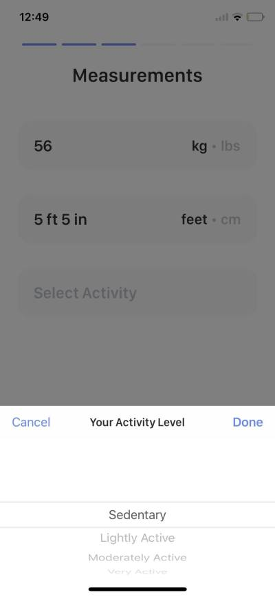 Activity Level on iOS by Calory from UIGarage