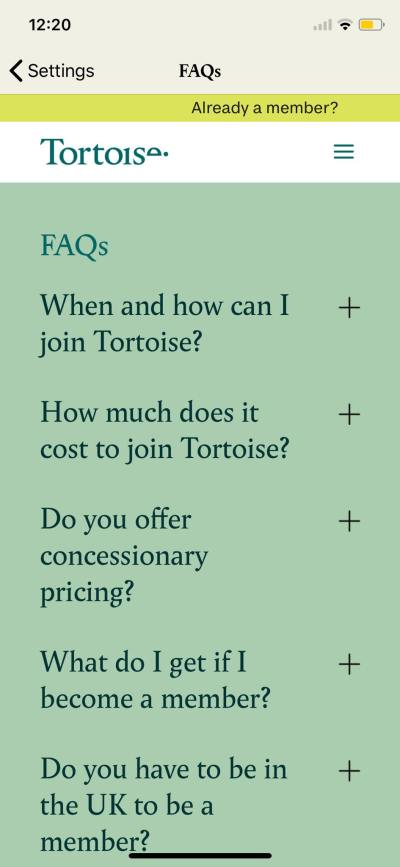 FAQS on iOS by Tortoise from UIGarage