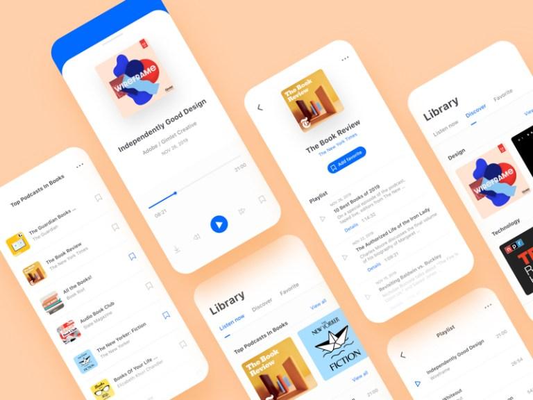 Podcast App UI Kit for Adobe XD from UIGarage