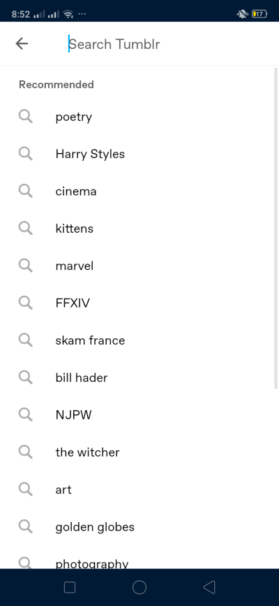 Search on Android by Tumblr from UIGarage
