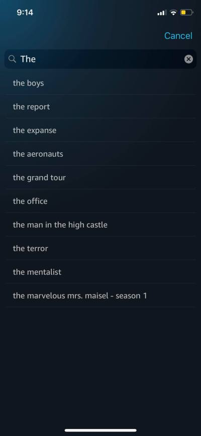 Search on iOS by Prime Video from UIGarage