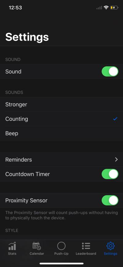 Settings on iOS by PushFit from UIGarage
