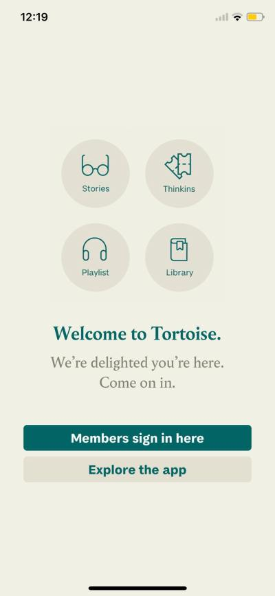 Welcome on iOS by Tortoise from UIGarage