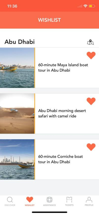 Wishlist on iOS by Musement from UIGarage