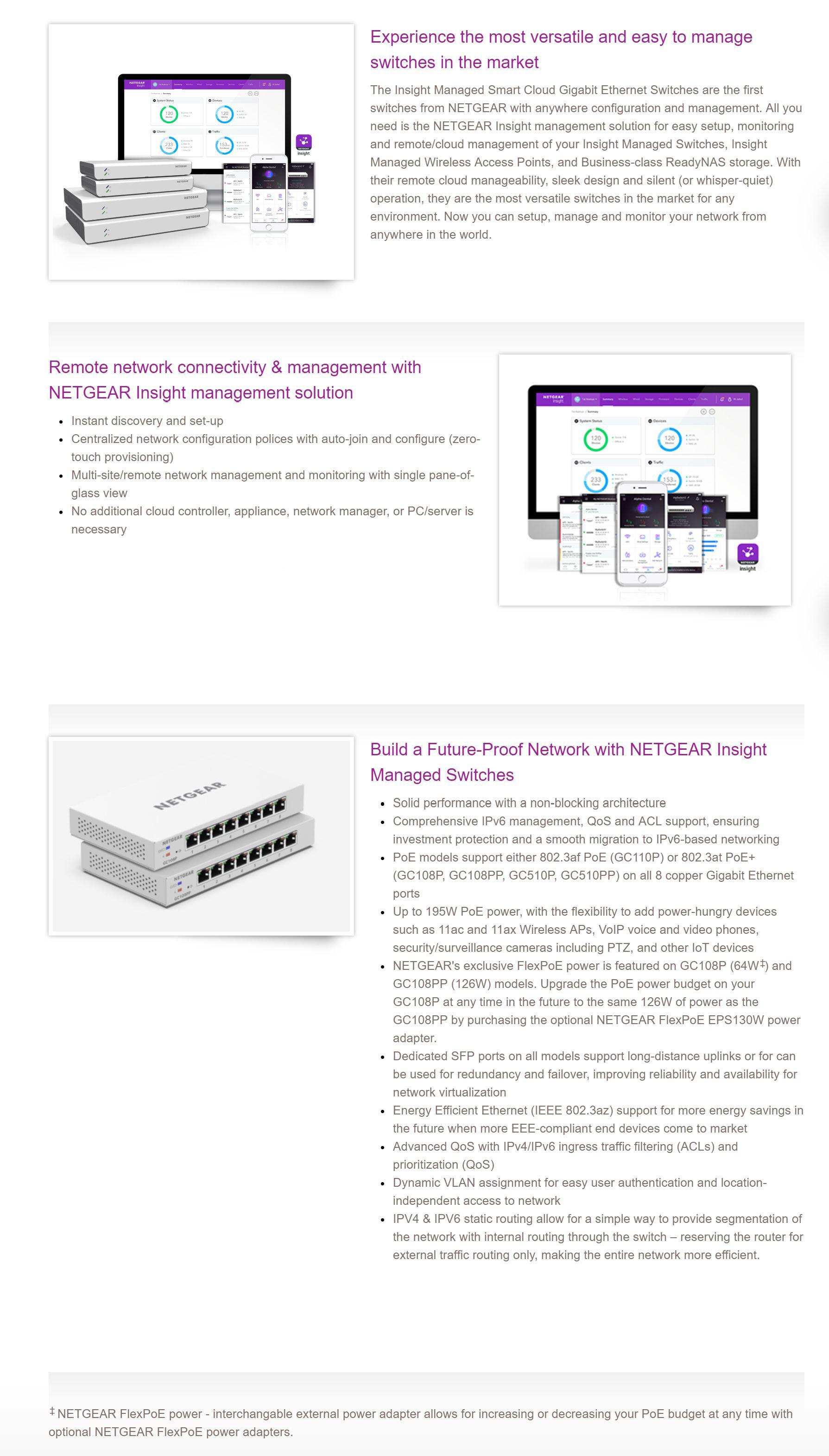 Netgear Insight 8 Port Gigabit Managed Hi-Power Cloud