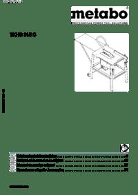 Metabo TKHS 315C 2,00 WNB TKHS 315C 3,10 WNB Manual