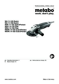 Metabo WEPA 14-150 QuickProtect WA 11-125 Quick Manual