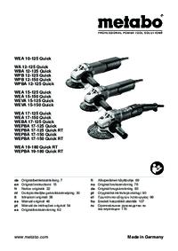 Metabo WEA 10-125 Quick WA 12-125 Quick WBA 12-125 Quick