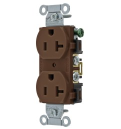 hubbell wiring br20 traditional straight blade duplex receptacle 2 pole 3 wire 125 volt 20 amp nema 5 20r brown straight blade receptacles wiring  [ 1200 x 1200 Pixel ]