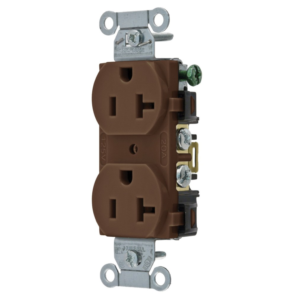 medium resolution of hubbell wiring br20 traditional straight blade duplex receptacle 2 pole 3 wire 125 volt 20 amp nema 5 20r brown straight blade receptacles wiring