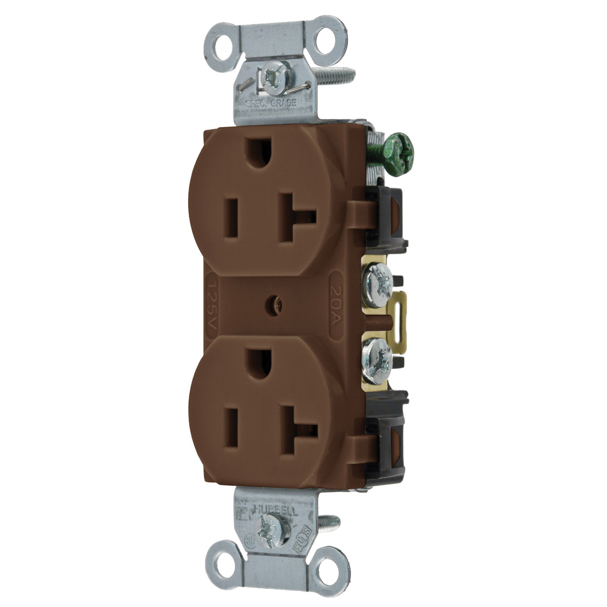 hight resolution of hubbell wiring br20 traditional straight blade duplex receptacle 2 pole 3 wire 125 volt 20 amp nema 5 20r brown straight blade receptacles wiring