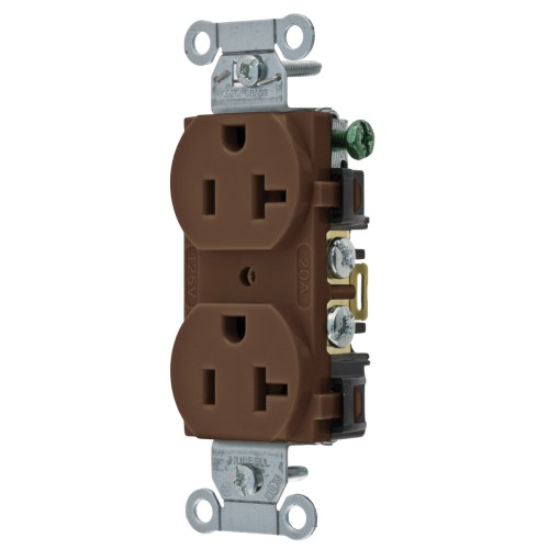small resolution of hubbell wiring br20 traditional straight blade duplex receptacle 2 pole 3 wire 125 volt 20 amp nema 5 20r brown straight blade receptacles wiring