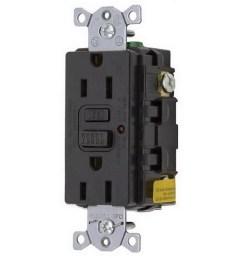 hubbell wiring gf15bkla commercial grade gfci receptacle with led indicator 15 amp 125 volt ac nema 5 15r black circuit guard gfci afci receptacles  [ 900 x 900 Pixel ]