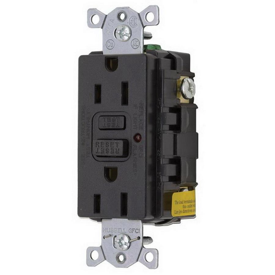 hight resolution of hubbell wiring gf15bkla commercial grade gfci receptacle with led indicator 15 amp 125 volt ac nema 5 15r black circuit guard gfci afci receptacles