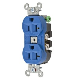 hubbell wiring 5362bl commercial industrial grade heavy duty straight blade receptacle 2 pole 3 wire 125 volt 20 amp nema 5 20r blue hubbell pro straight  [ 1200 x 1200 Pixel ]