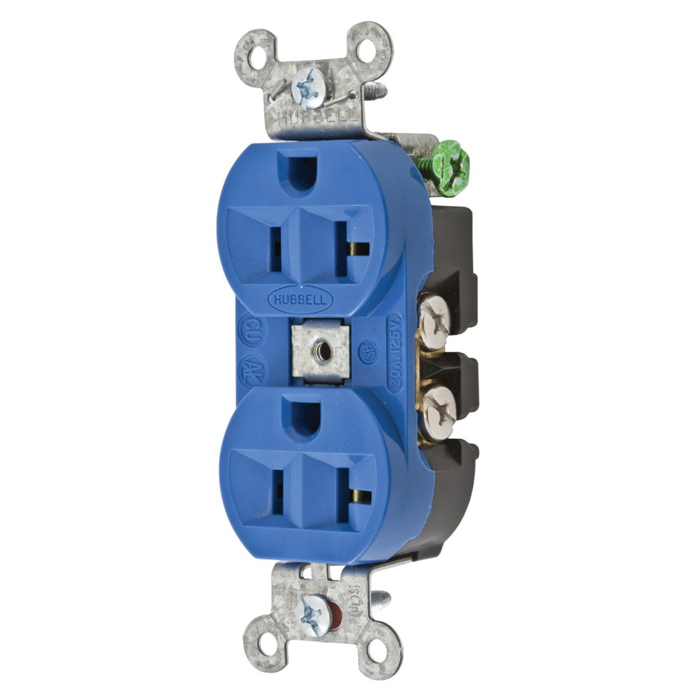 medium resolution of hubbell wiring 5362bl commercial industrial grade heavy duty straight blade receptacle 2 pole 3 wire 125 volt 20 amp nema 5 20r blue hubbell pro straight