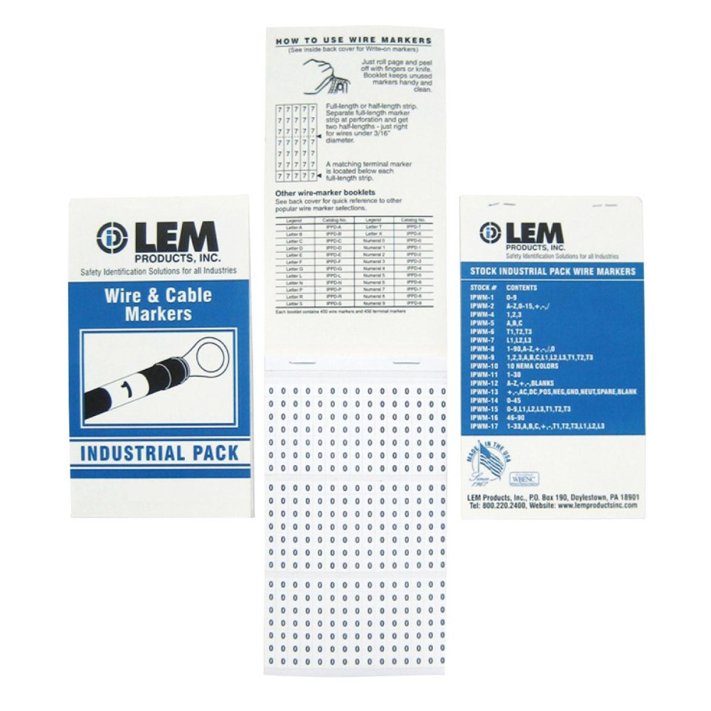 medium resolution of lem ipwm14 vinyl cloth industrial standard wire and cable marker book 1 4 inch x 1 1 2 inch black on white legend 1 45 0 industrial pack wire markers