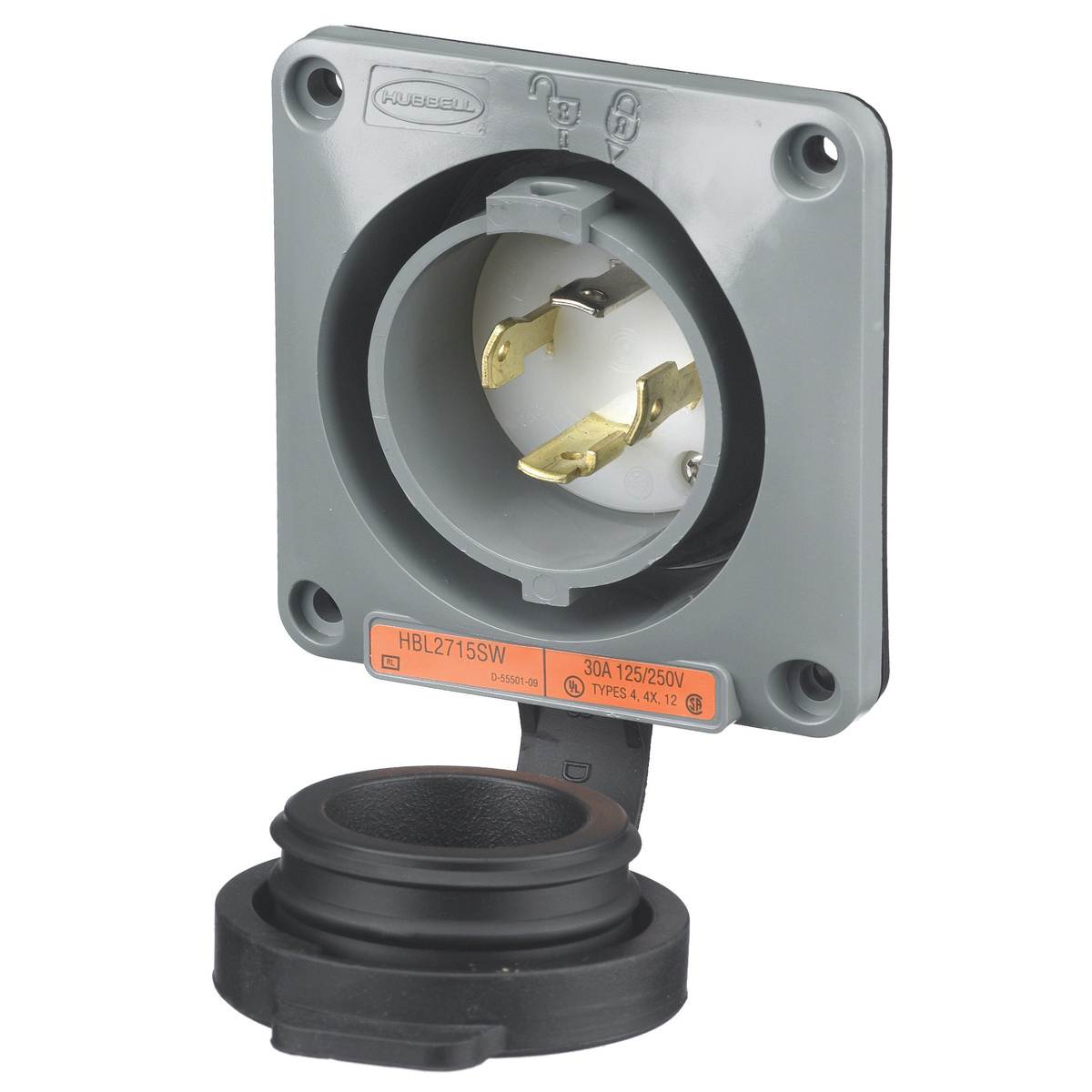 hight resolution of hubbell wiring hbl2715sw extra heavy duty watertight polarized locking receptacle 3 pole 4