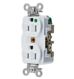 hubbell wiring hbl8200w hospital grade extra heavy duty standard straight blade duplex receptacle 15 amp 125 volt nema 5 15r white hbl straight blade  [ 1000 x 1000 Pixel ]
