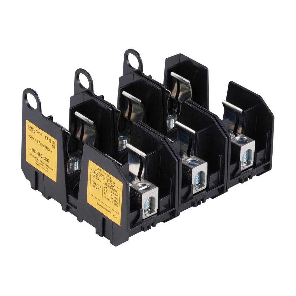 medium resolution of bussmann jm60060 3cr class j fuse block 3 pole 600 volt 60 ampbussmann jm60060 3cr class