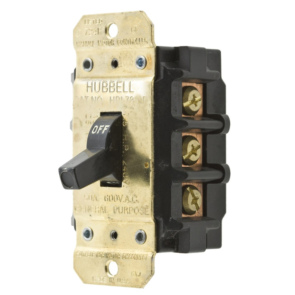medium resolution of hubbell wiring hbl7853d 3 pole 3 phase toggle manual motor disconnect switch 600