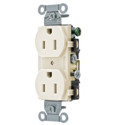 hubbell wiring cr15la commercial specification grade smooth face straight blade receptacle 2 pole 3 wire 125 volt 15 amp nema 5 15r light almond straight  [ 1200 x 1200 Pixel ]