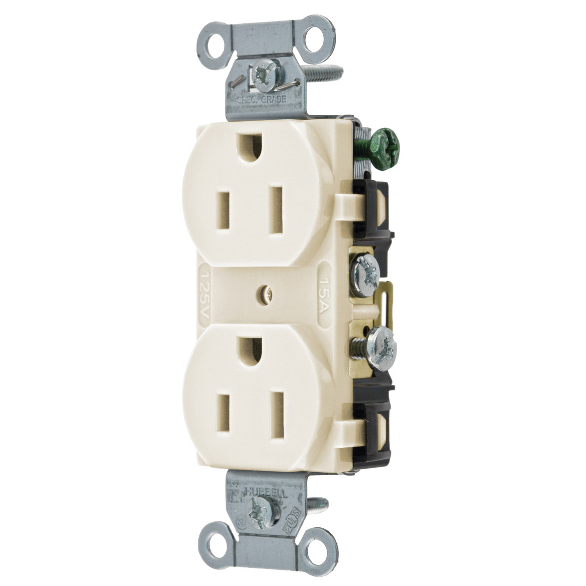 hight resolution of hubbell wiring cr15la commercial specification grade smooth face straight blade receptacle 2 pole 3 wire 125 volt 15 amp nema 5 15r light almond straight