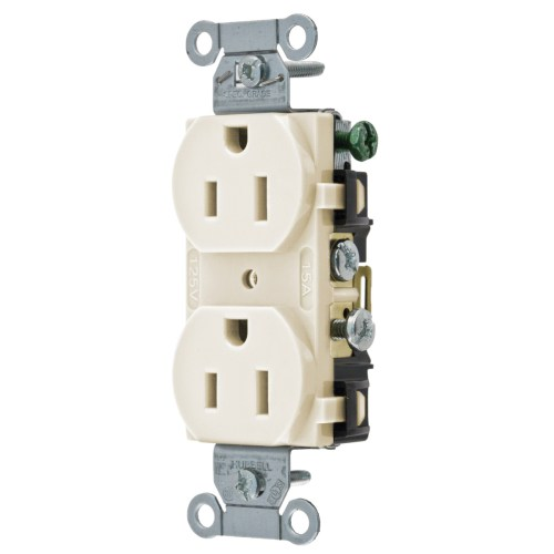 small resolution of hubbell wiring cr15la commercial specification grade smooth face straight blade receptacle 2 pole 3 wire 125 volt 15 amp nema 5 15r light almond straight