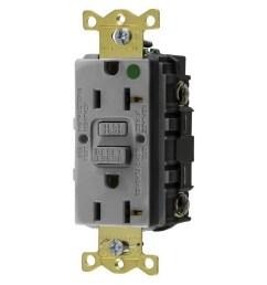 hubbell wiring gfrst83gy hospital grade gfci receptacle 20 amp 125 volt nema 5 [ 1000 x 1000 Pixel ]