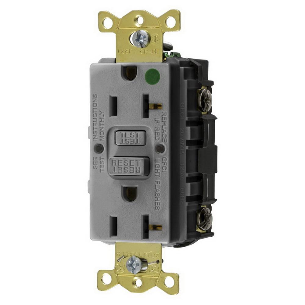 hight resolution of hubbell wiring gfrst83gy hospital grade gfci receptacle 20 amp 125 volt nema 5