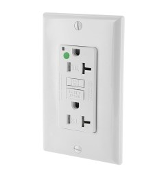 leviton gftr2 hfw hospital grade extra heavy duty tamper resistant self test gfci receptacle with led indicator 20 amp 125 volt ac nema 5 20r white  [ 1000 x 1000 Pixel ]