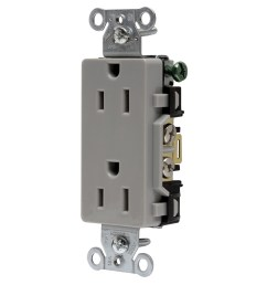 hubbell wiring dr15gry decorator straight blade duplex receptacle 2 electrical wiring device with multiple on hubbell wiring devices [ 1200 x 1200 Pixel ]