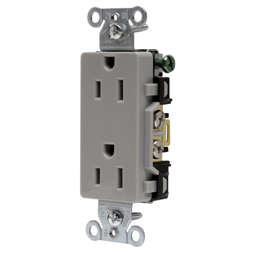 medium resolution of hubbell wiring dr15gry decorator straight blade duplex receptacle 2 electrical wiring device with multiple on hubbell wiring devices