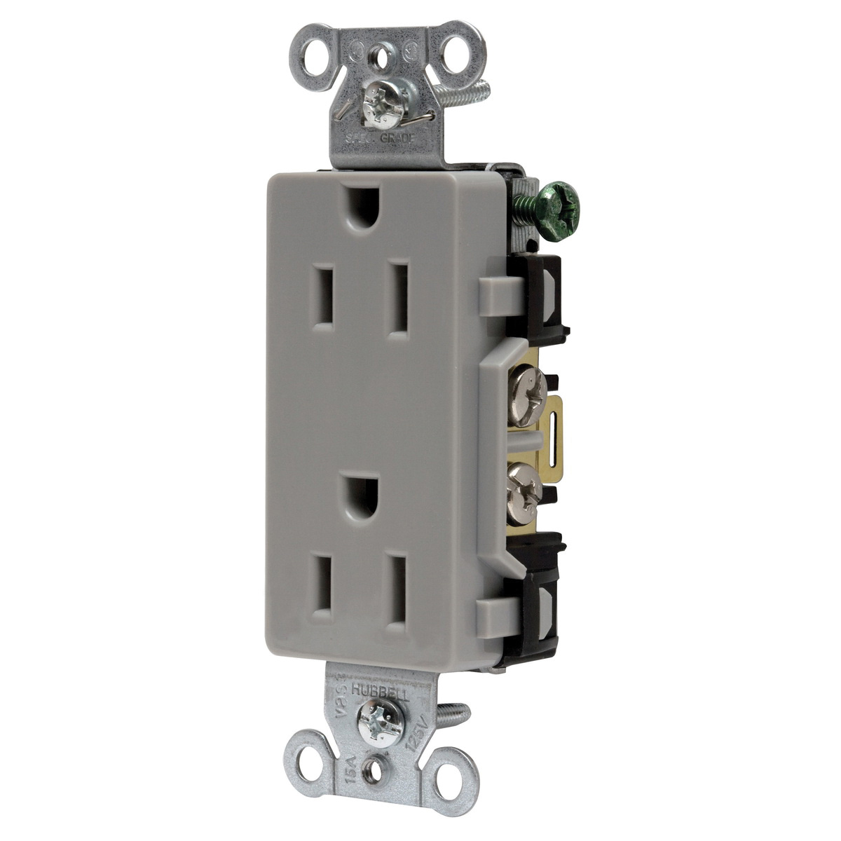hight resolution of hubbell wiring dr15gry decorator straight blade duplex receptacle 2 electrical wiring device with multiple on hubbell wiring devices
