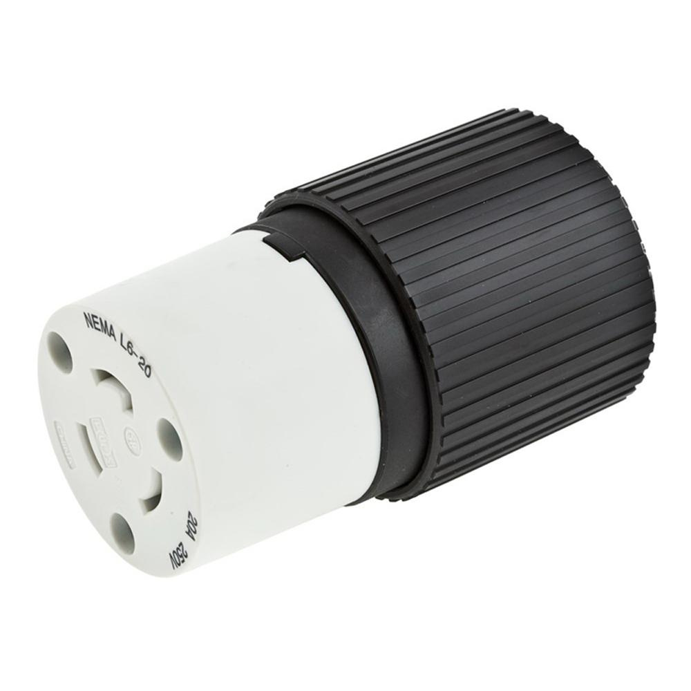 hight resolution of hubbell wiring l620c 3 wire 2 pole polarized locking connector 250 volt 20 amp nema l6 20r black white hubbell pro select spec twist lock connectors