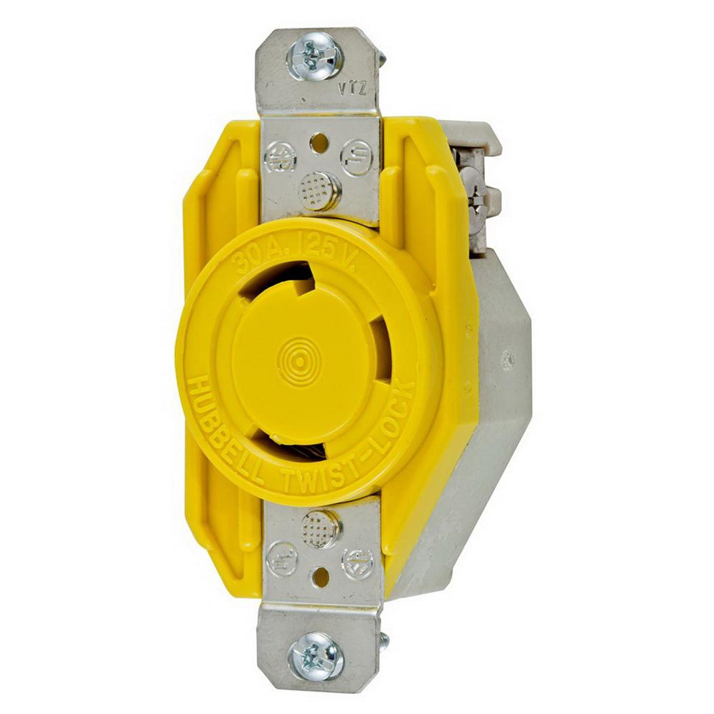 hight resolution of hubbell wiring hbl26cm10 flush mount corrosion resistant single receptacle 30 amp 125 volt ac 1 phase nema l5 30r yellow twist lock twist lock