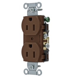 hubbell wiring cr15 commercial specification grade smooth face straight blade duplex receptacle 15 amp 125 volt ac brown straight blade receptacles  [ 1200 x 1200 Pixel ]
