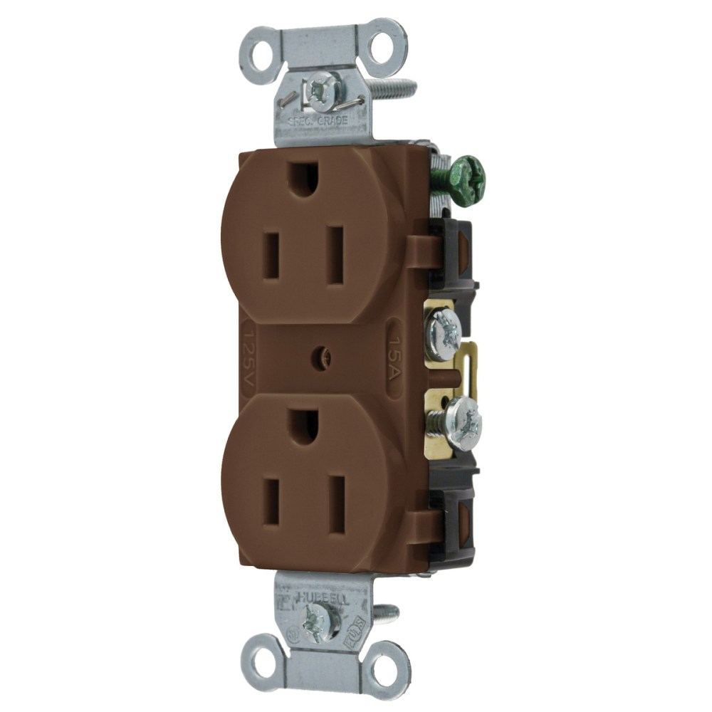 medium resolution of hubbell wiring cr15 commercial specification grade smooth face straight blade duplex receptacle 15 amp 125 volt ac brown straight blade receptacles