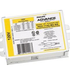 philips advance rez1t42m2bs35m 1 light dimmable fluorescent ballast 120 volt mark 10 powerline fluorescent ballasts ballasts starters capacitors  [ 900 x 900 Pixel ]