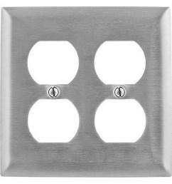 hubbell wiring ss82 302 304 stainless steel screw mount standard size slightly beveled 2 gang wallplate 2 duplex receptacle homeselect duplex  [ 900 x 900 Pixel ]