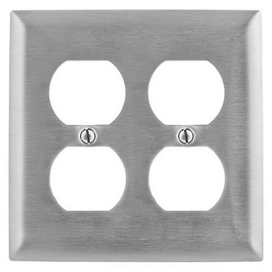 hight resolution of hubbell wiring ss82 302 304 stainless steel screw mount standard size slightly beveled 2 gang wallplate 2 duplex receptacle homeselect duplex