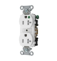 hubbell wiring 8300wtra extra heavy duty hospital grade tamper resistant duplex straight blade receptacle 20 amp 125 volt ac nema 5 20r white hubbell pro  [ 1000 x 1000 Pixel ]