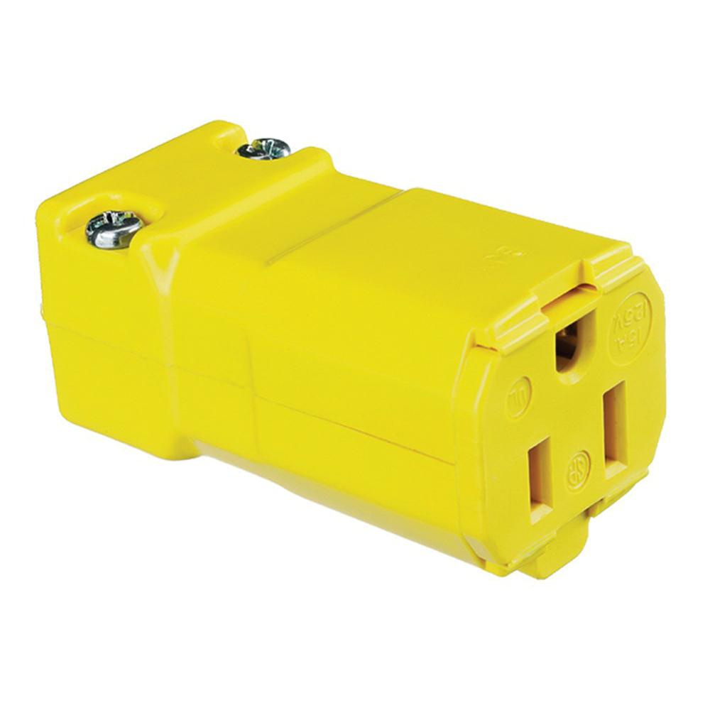 medium resolution of hubbell wiring hbl5969vy 3 wire 2 pole polarized straight blade connector 125 volt 15 amp nema 5 15r yellow valise straight blade connectors plug