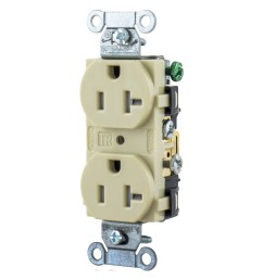 hubbell wiring br20itr 3 wire 2 pole tamper resistant straight blade duplex [ 1200 x 1200 Pixel ]