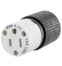 hubbell wiring 515sc 3 wire 2 pole polarized straight blade connector 125 volt 15 amp nema 5 15r black white straight blade connectors plug connectors  [ 1000 x 1000 Pixel ]