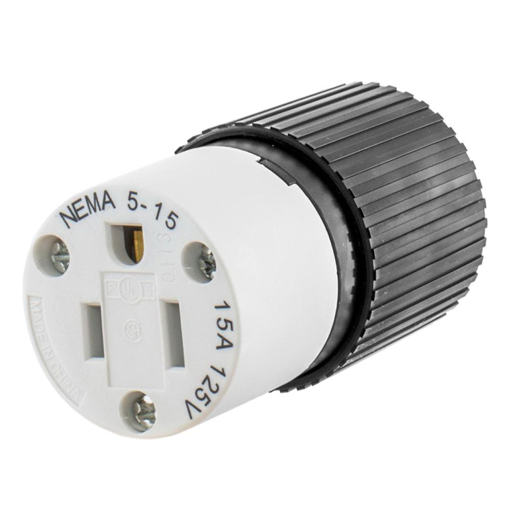 medium resolution of hubbell wiring 515sc 3 wire 2 pole polarized straight blade connector 125 volt 15 amp nema 5 15r black white straight blade connectors plug connectors